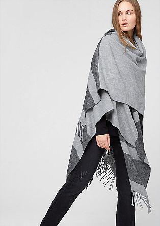 Oversized poncho met strepen
