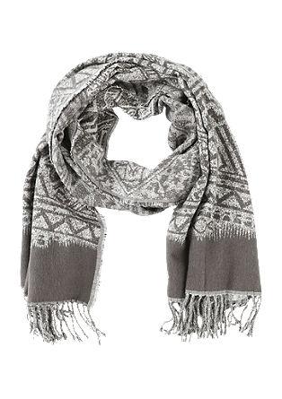Oversized sjaal met jacquard motief