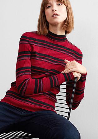 Ozek pleten pulover v retro slogu