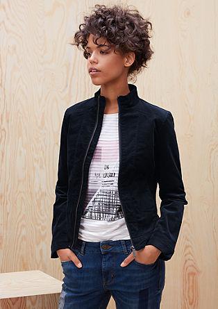 Ozka kratka jakna iz rebrastega žameta