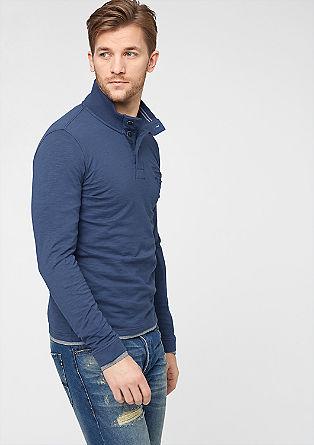 Ozka majica z dolgimi rokavi s stoječim ovratnikom