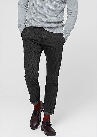 Ozke hlače chino: Vzorčaste hlače iz tvila