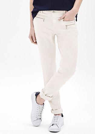 Ozke jeans hlače Sienna Slim: hlače z okrasnimi zadrgami