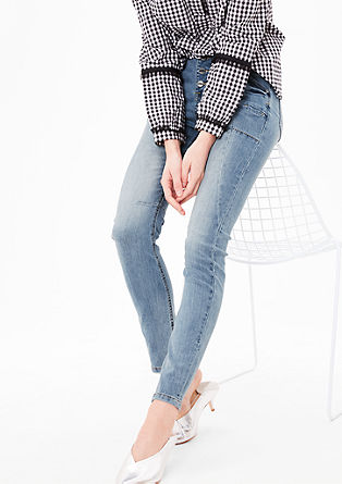 Ozke jeans hlače z visokim pasom