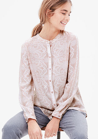 Paisley bluza z visokim zapenjanjem