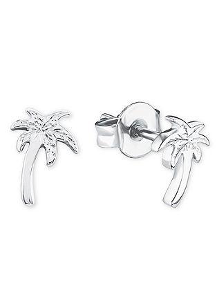 Palmen-Ohrstecker aus Silber