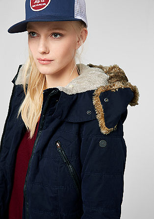 Parka mit Leder-Look-Details