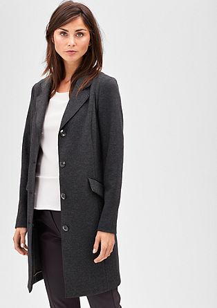 Paspelierter Mantel aus Woll-Mix