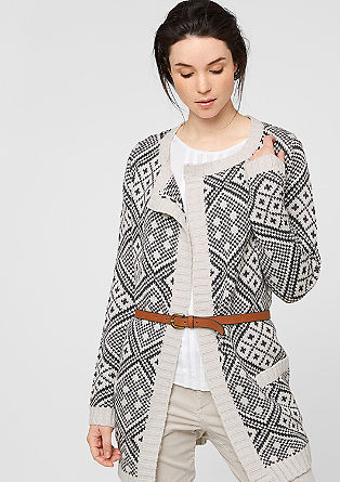 Patterned cardigan with a belt from s.Oliver