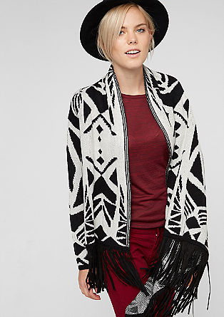 Patterned cardigan with fringing from s.Oliver