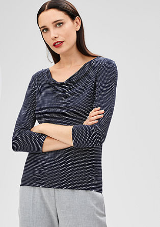 Patterned jersey top with 3/4-length sleeves from s.Oliver
