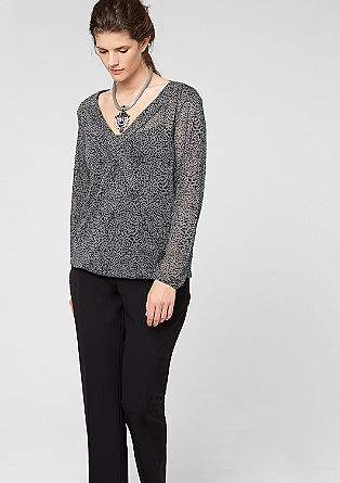 Patterned long sleeve mesh top from s.Oliver