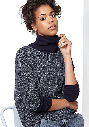 Patterned mesh top with 3/4-length sleeves from s.Oliver