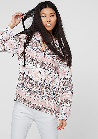 Patterned mullet-style chiffon blouse from s.Oliver