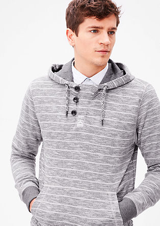 Patterned sweatshirt hoodie with buttons from s.Oliver