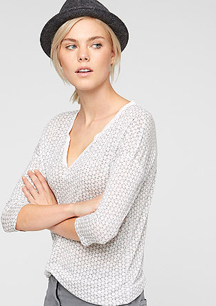 Patterned top with 3/4-length sleeves from s.Oliver