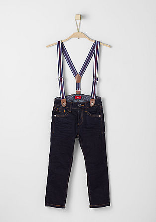 Pelle: dark denim jeans with braces from s.Oliver