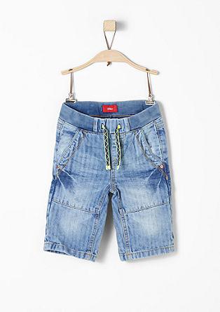 Pelle: jeans met 3/4-pijpen en structuur