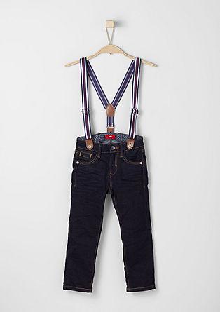 Pelle: Temne jeans hlače z naramnicami