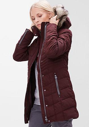 Péřový kabát s imitací kožešiny