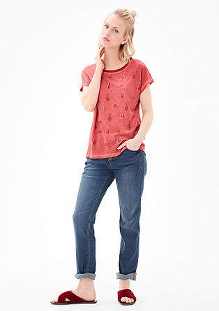 Pigment Dye-Shirt mit Holiday-Print