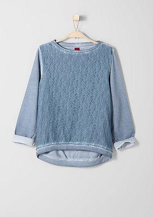 Pigment Dye-Sweater mit Spitze