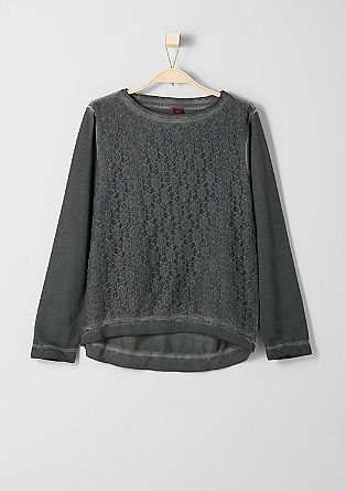 Pigment dyed sweater with lace from s.Oliver