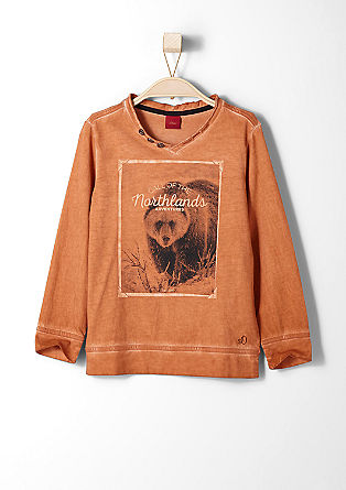 Pigment-dyed T-shirt with a bear motif from s.Oliver
