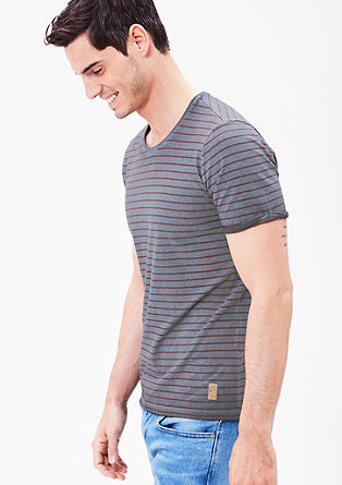 Pigment-dyed T-shirt with stripes from s.Oliver
