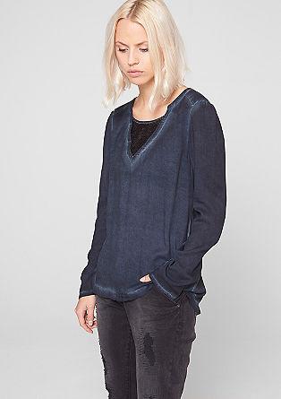 Pigmet-Dye-Bluse mit Pailletteneinsatz