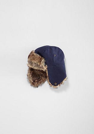 Pilotska kapa z umetnim krznom