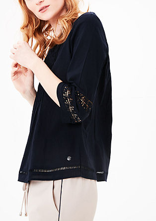 Pintuck blouse with crochet details from s.Oliver