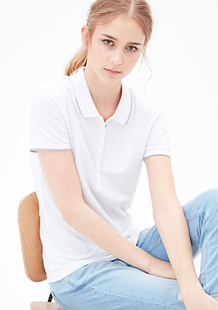 Piqué polo shirt with a long button placket from s.Oliver