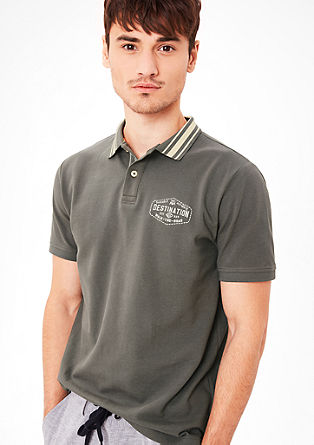 Piqué polo shirt with a striped collar from s.Oliver
