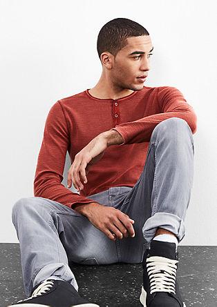 Piqué shirt met garment-dyed effect