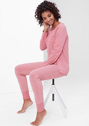 Pižama iz džersija s pikčastimi hlačami