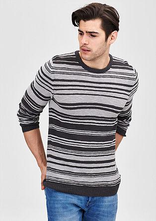 Pleten črtast pulover