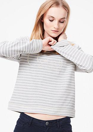 Pleten črtast sweatshirt pulover