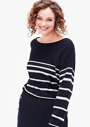 Pleten pulover iz lanene mešanice
