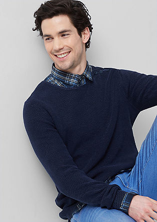 Pleten pulover mornarskega videza