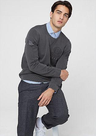 Pleten pulover s potiskom