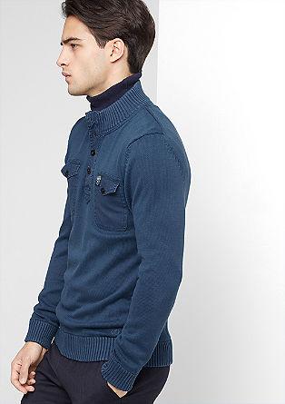 Pleten pulover s prsnima žepoma