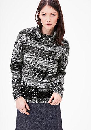 Pleten pulover s širšim puli ovratnikom