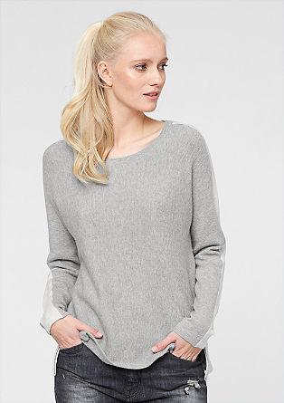 Pleten pulover s stranskimi okrasnimi zadrgami