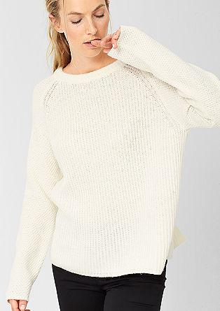 Pleten pulover s strukturno mešanico