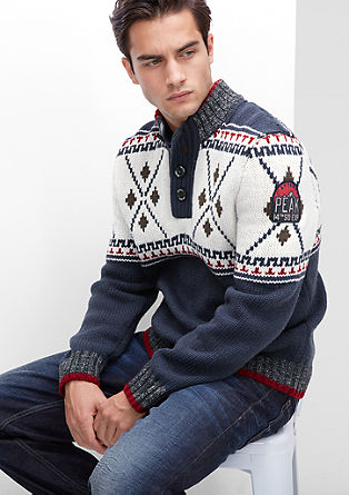 Pleten pulover v norveškem slogu