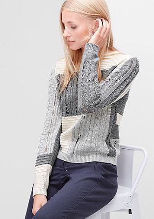 Pleten pulover z barvnimi bloki
