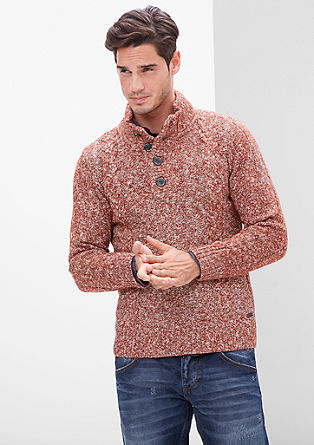 Pleten pulover z melanž učinkom