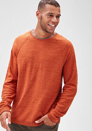 Pleten pulover z melirano teksturo