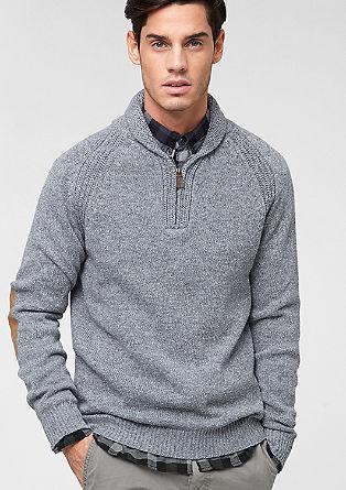 Pleten pulover z našitki na komolcih
